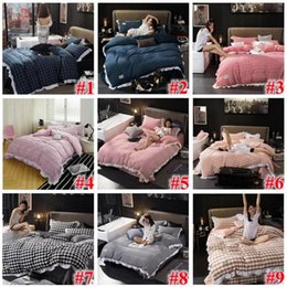 Wholesale King Sized Bedding Sets - 24 Styles Striped Plaid Bedding Sets Plaid Duvet Covers for King Size Bed Plaid Bedding Duvet Cover Sheets Pillow Cover CCA7583 1set