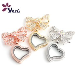 Wholesale Glass Heart Lockets - 10pcs Lot DIY Lovely Round Heart Floating Magnetic Glass Lockets Brooch Pins Fashion Crystal Brooch Lovely Bowknot Brooch For Women