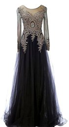Wholesale Evening Gowns Scoop Back - 2017 Long Evening Dresses A Line Style vestidos de noiva with Long Sleeves Formal Prom Gowns Free Shipping