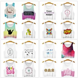 Wholesale Cartoon Anime Girl Sexy - DHL freeship 16 colors Women Fashion Vest Cartoon Anime Galaxy 3D Print Sleeveless Short Crop Top Summer sexy Girl Camis Tanks Tops T-Shirt