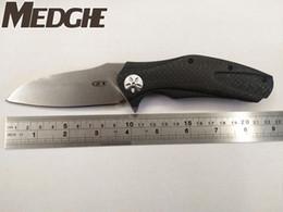 "Wholesale Fold Folder - MEDGE Zero Tolerance Custom Knives 0770CF ZT0777 ZT 0777 Flipper 3.75"" S35VN Stonewash Razor Blade, Carbon Fiber Handles Folder EDC Knife"
