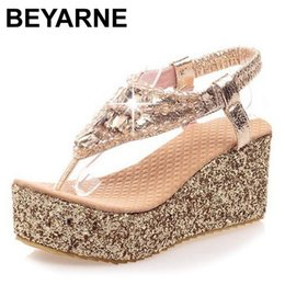 Wholesale Hot Sexy Wedges - Wholesale-2015 Hot Sale summer thick high heel summer sandals women sexy fashion platform lady buckle wedge shoes