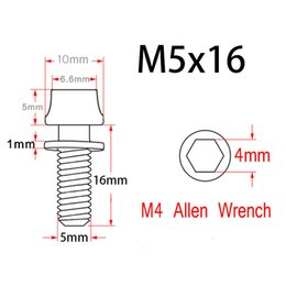 Wholesale Gold Water Bottles - Mountain MTB Bike Water Bottle Cage Titanium Allen Hex Tapered Head Bolts Screw M5x16mm Washer Head 4 Packed Ti