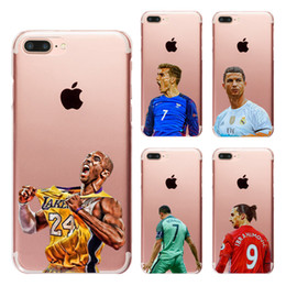 Wholesale Iphone 4s Soft Cover - Cool Basketball Football Star Clear Soft Silicone TPU Cell Phone Case for iphone X 8 7 6S Plus 5S 5C 4S Back Cover
