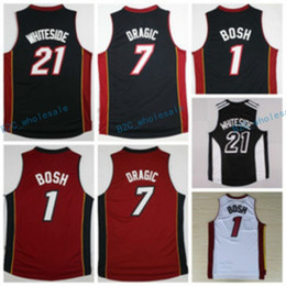Wholesale Color White Jersey Basketball - Hot Sale 21 Hassan Whiteside Jersey Throwback 1 Chris Bosh Shirt 7 Goran Dragic Uniforms Fashion Team Color Black Red White Best Quality