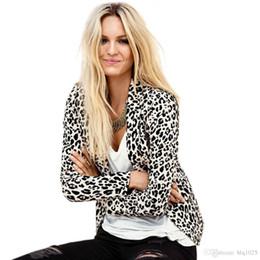 Wholesale Down Jacket Leopard - Single Button Leopard Women Winter Blazer And Jacket Long Sleeve Turn-Down Collar Slim 2017 Autumn Winter Blazer Women Outwear free shipping