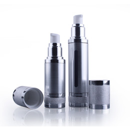 Wholesale Glass Airless Pump Bottle - 10pcs 50ML Silver Matte Empty Perfume Atomizer Vacuum Pump Airless Cosmetic Bottle Makeup Packaging For Travel wholesale EB102