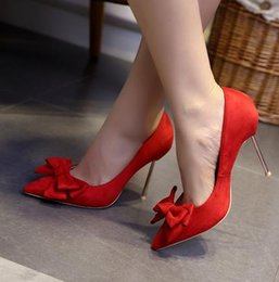 Wholesale Leather Ballet Flats 12 - New Style Women Pumps High Quality Leather Shoes Bowtie High Heeled Wedding Party Shoes for Ladies Plus Size 34-43