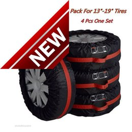 """Wholesale Wheels Tires 19 - 4x Car Truck Seasonal Spare Tyre 13""""-19"""" Tire Protection Storage Bags Carry Tote Car Tire Cover Protector Cover black wheel accessories"""