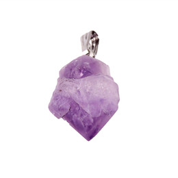 Wholesale Amethyst Healing Stones - Wholesale- Natural Amethyst point stone Pendants Pendulum Crystal Amethyst Chakra Healing Reiki Beads Free shipping