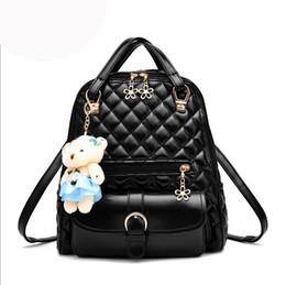 15efb58a5083 Lady style diamond lattice backpack womens PU leather backpack handbags  cute bear doll trendy backpacks for women