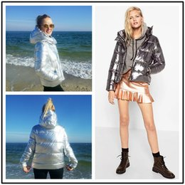 Wholesale Ladies Grey Down Winter Coat - 2018 New Hot Metal Silver Color Winter Women Jackets Casual Warm Thicken Hooded Short Ladies Parkas Down Coats Femme FS3062