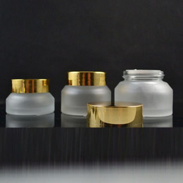 Wholesale Match Containers Wholesale - 15g High quality Oblique frosted cream jar Match gold aluminum cap,30g glass cosmetic jar,50g glass jar or cream container fast F2017845
