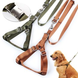 Wholesale Dog Golden - Large Dog Collar Special Extra Thick Iron Buckled Breast And Back Towing Leather Collar Golden Retriever Husky Dog Leash Pet Supplies