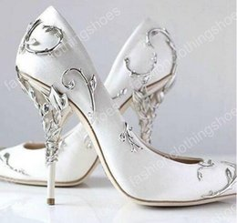 Wholesale Silver Satin Slip - Ralph & Russo Silver Leaf Brand Wedding Dress Bridal Pumps for women Thin high heels White Satin Ladies Pumps Slip on Solid Single Shoes