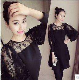 Wholesale Plus Size Upper Garments - New Arrival Fashion Korean Slim Sweety Princess Noble Morality Show Banquet Black Lace Long Render Unlined Upper Garment Plus Size Dress