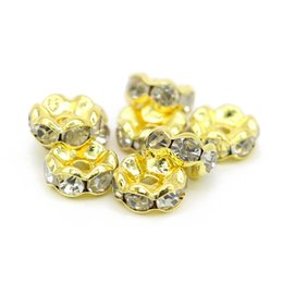 Wholesale Good Halloween Movies - Good Quality Wavy Rondelle Spacer Beads Gold Tone Copper Base White Clear Crystal Rhinestone For Diy Jewelry, IA02-02