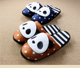 Wholesale Teddy Bear Winter - Wholesale- Winter Soft Floor Striped Panda Home Slipper Teddy Bear House Slippers For Women And Men Couples Pantuflas Indoor Pantofole Hot