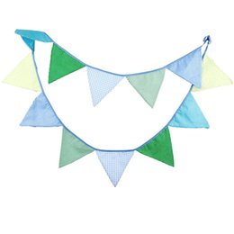 Wholesale Flags Banner Green - Wholesale-12 Flags 3.2M Cotton Fabric Banners Christmas Decoration Wedding Green Bunting Decor Birthday Garland Home Party Decoration