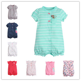 Wholesale Summer Girl Rainbow - Short Sleeve Girls Rompers Jumpsuit Baby Infant Toddler Clothing Striped Dot Rainbow Crab Flamingo Butterfly Hippocampus Monkey Cat Cherry