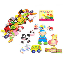 Wholesale Toy Magnets For Fridge - Multifunctional Educational Animals Alphabetic Letters Numbers Magnetic Puzzle Toys for Children Fridge Magnets
