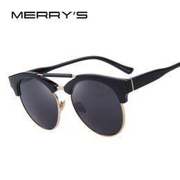 Wholesale Women S Rimless Eye Glasses - Wholesale- MERRY'S Women Semi-Rimless Round Sunglasses Double-Bridge Mirror Sunglasses Female Circle Sun glasses Retro shades S'8192