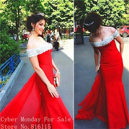 Wholesale Boat Jacket - Gorgeous Boat Neck Beaded Appliques Long Evening Dresses 2017 Fashion Red Color Mermaid Evening Dress Formal Prom Gowns