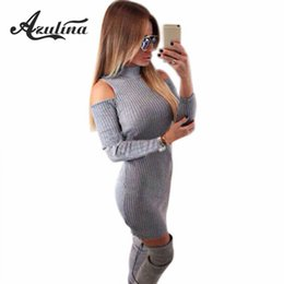 Wholesale Sweater Robe - Wholesale- AZULINA Sexy Party Club Dresses Off Shoulder Knitted Sweater Vestidos Robe Femme Women Warm Winter 2016 Long Sleeve Mini Dress