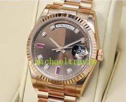 Wholesale Diamond Mechanical Watch - Top Luxury brand watch men automatic Chocolate Diamond & Ruby Dial Everose Gold 118235 CHODRP Stainless steel AAA sapphire mens watches