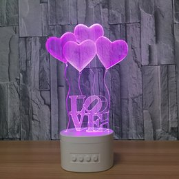 Wholesale Heart Touch Love - 3D Love Heart LED Lamp Speaker 5 RGB Lights USB Charging Bluetooth Speaker TF Card Wholesale Dropshipping