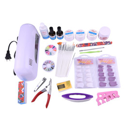 Wholesale Toe Nail Clipper Kits - Wholesale- 21 pcs set Nail Tools Set Kit Combination:Therapy Machine+False Nails+Extended Gel+Painting Pens+Toe Seperator+Nail Clipper