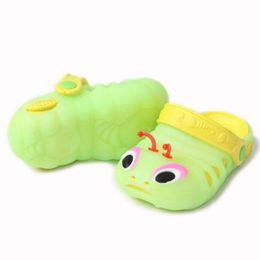 Wholesale Caterpillar Shoes Cartoon - SL001 Children's Slippers New Cartoon Caterpillar Children's Cool Sandals Summer Jelly Shoes Size18-29 Optional Hole Sandals 4color optional
