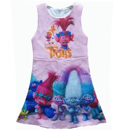 Wholesale Cartoon Children Vest - Girl Trolls Poppy Branch Princess Dress Girl Pleated Children Cartoon Letters Quality Trolls Figure Sleeveless Vest Dresses Clothes F376
