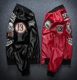 Wholesale Leather Baseball Jacket Women - New kanye tide brand PU leather jacket men and women baseball service MA1 pilot jacket skeleton motorcycle jacket
