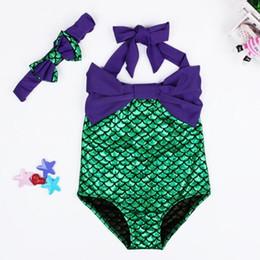2946ce1f8a pretty swimwear Coupons - Pretty Baby bow tie Fashion Princess Girls  Mermaid Swimsuit one piece Kids