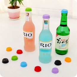Wholesale Red Beer Bottle Caps - 6pcs set 3 cm Beer Bottle Cap Silicone Colorful Wine Stoppers Leak Free Wine Bottle Sealers For Red Wine Bottle Cap 170928