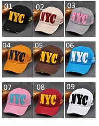 Wholesale Korea Children Summer Hats - Wholesale - South Korea NYC letter baseball hat male ladies summer curved canopy cap outdoor sports sunscreen sun hat