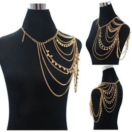 Wholesale Belly Ball Necklace - Bohemian Fashion Gold Ball Charm Shoulder Chain Long Statement Necklaces Women Sexy Tassel Body Jewelry Gift