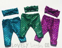 Wholesale Toddler Mermaid - Little Mermaid Leggings capris Toddler Fish Scale Print Leggings Green Mermaid baby leggings mermaid scale girly baby clothes