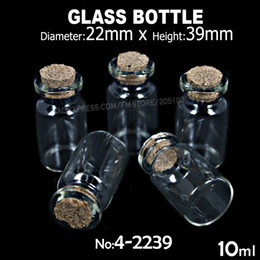 Wholesale Perfume Stopper - Wholesale- 8pcs lot 10ml 22x39mm Clear Glass Cork Stopper Bottles Jars for DIY Wish Message Sample Perfume Nail Art beads Vials container