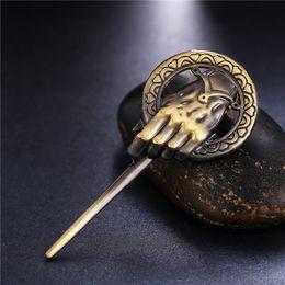 2019 badges incendie Chanson de glace et de feu broche main du roi revers inspiré authentiques broches Badge Broches film bijoux badges incendie pas cher