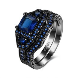 Wholesale lady ring green stone - Bridal Ring Sets for Women Black Gun Plated 5 Colors Cubic Zirconia Stone Ladies Rings Fashion Jewelry 2017 Wholesale R073