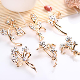 christmas rose plant Canada - 5 models crystal flower brooches pins luxury plant wheat rose corsage for men women banquet party Christmas costume jewelry gift
