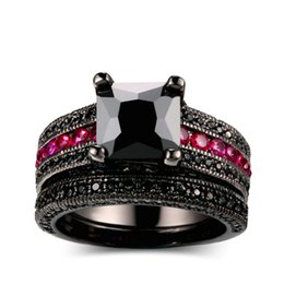 Wholesale Tungsten Solitaire Rings - Vintage Jewelry Princess Cut Black and Red CZ Women Wedding Ring Set Anel Black Gold Filled Engagement Rings