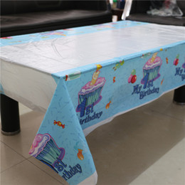 Wholesale Plastic Tablecloth Decorations - Wholesale-108*180cm disposable tablecloth Cartoon My 1st Birthday theme kids birthday decoration party plastic table cover supplies