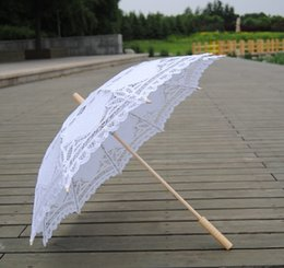 Wholesale Bridal Parasols - 30pcs 2017 New solid color lace parasols Bridal wedding umbrellas white color available Free shipping WA2262