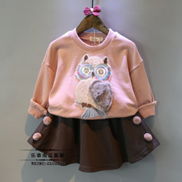 Wholesale Owl Shirts Girls - Child set 2016 female child autumn owl o-neck clothes t-shirt wool short skirt casual twinset