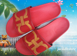Wholesale Slippers For Boys - Clearance Man Beach Sandals Style Red Black Casual Word Slippers for Men Leather Flat Boys Slipper In Size EUR40-45