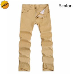 Wholesale Flying School - Wholesale- HOT 2016 Fashion Mens Casual Slim Fit Business School Students Straight Men Teenager Khaki White Black red Blue Pencil Pants