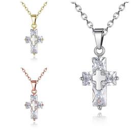Halskette drei kreuze online-Brandneue drei Farben Damen Halskette Mode Kreuz Zirkon Anhänger YP084 Kunsthandwerk Anhänger mit Kette